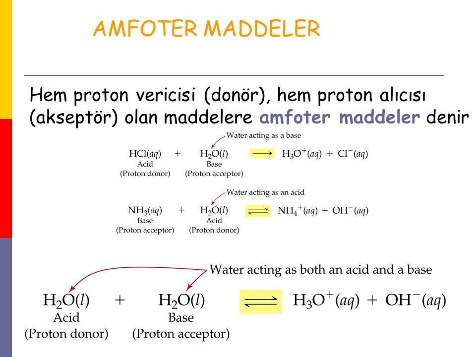 30 Hem proton vericisi (donör), hem proton alıcısı (akseptör) olan maddelere amfoter maddeler denir AMFOTER MADDELER
