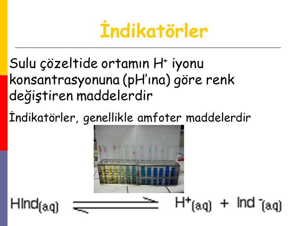 33 Sulu çözeltide ortamın H + iyonu konsantrasyonuna (pH'ına) göre renk değiştiren maddelerdir İndikatörler, genellikle amfoter maddelerdir İndikatörl