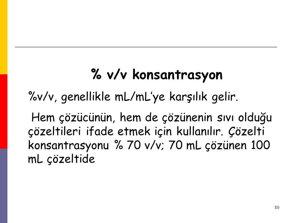 50 % v/v konsantrasyon %v/v, genellikle mL/mL'ye karşılık gelir. Hem çözücünün, hem de çözünenin sıvı olduğu çözeltileri ifade etmek için kullanılır.