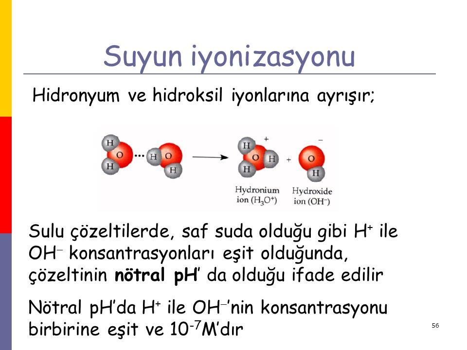 56 Suyun iyonizasyonu Hidronyum ve hidroksil iyonlarına ayrışır; Sulu çözeltilerde, saf suda olduğu gibi H + ile OH  konsantrasyonları eşit olduğunda