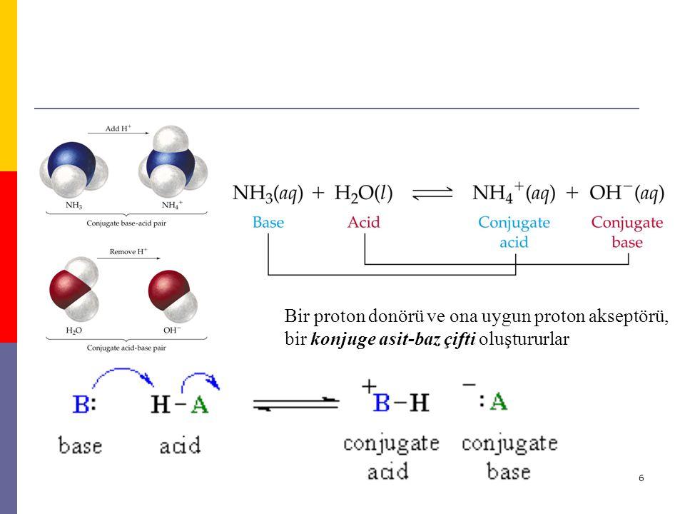 6 Bir proton donörü ve ona uygun proton akseptörü, bir konjuge asit-baz çifti oluştururlar