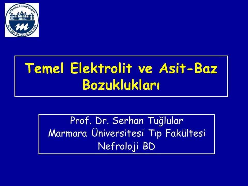 Temel Elektrolit ve Asit-Baz Bozuklukları Prof. Dr. Serhan Tuğlular Marmara Üniversitesi Tıp Fakültesi Nefroloji BD