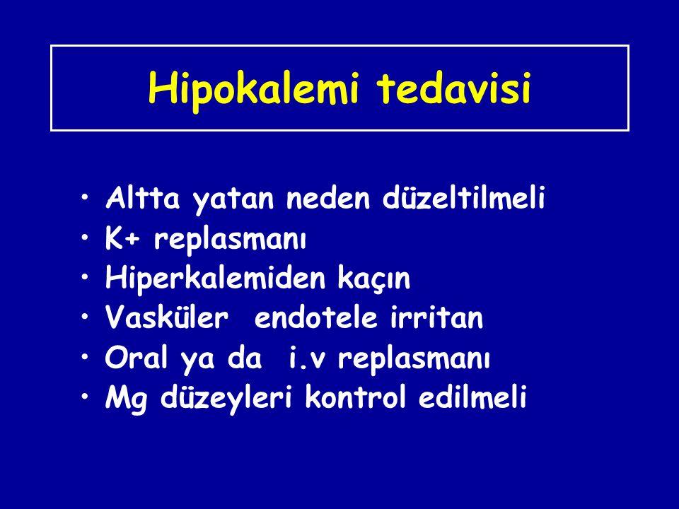 Hipokalemi tedavisi Altta yatan neden düzeltilmeli K+ replasmanı Hiperkalemiden kaçın Vasküler endotele irritan Oral ya da i.v replasmanı Mg düzeyleri