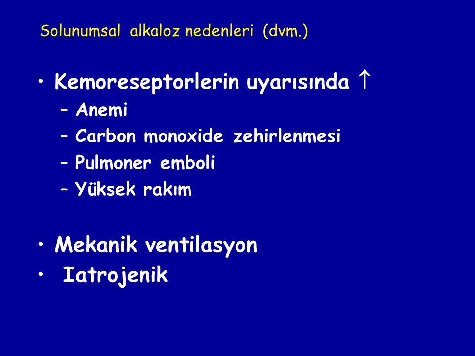 Kemoreseptorlerin uyarısında  –Anemi –Carbon monoxide zehirlenmesi –Pulmoner emboli –Yüksek rakım Mekanik ventilasyon Iatrojenik Solunumsal alkaloz n