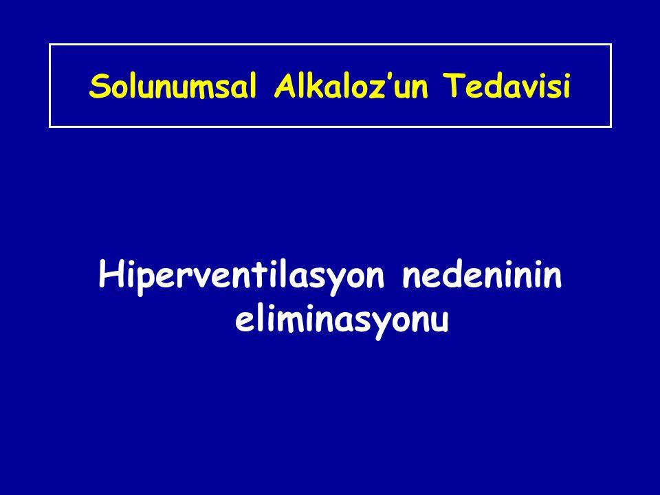 Solunumsal Alkaloz'un Tedavisi Hiperventilasyon nedeninin eliminasyonu