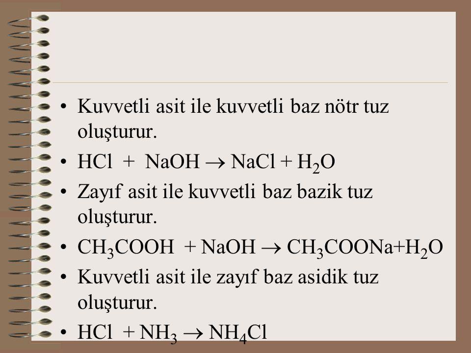 Kuvvetli asit ile kuvvetli baz nötr tuz oluşturur. HCl + NaOH  NaCl + H 2 O Zayıf asit ile kuvvetli baz bazik tuz oluşturur. CH 3 COOH + NaOH  CH 3