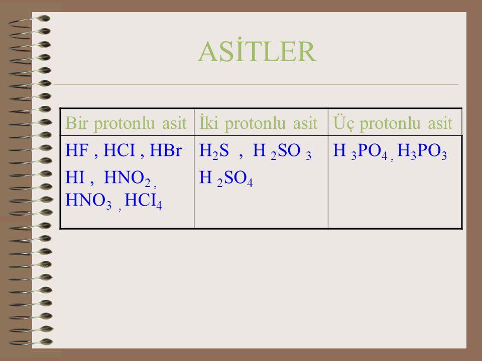 ASİTLER Bir protonlu asitİki protonlu asitÜç protonlu asit HF, HCI, HBr HI, HNO 2, HNO 3, HCI 4 H 2 S, H 2 SO 3 H 2 SO 4 H 3 PO 4, H 3 PO 3