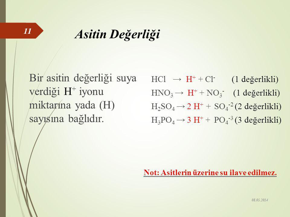 Asitlerin Özellikleri 1- Sulu çözeltileri elektrik akımını iletir. 2- Sulu çözeltilerinin tatları ekşidir (limon, sirke gibi). 3- Turnusol kağıdının r