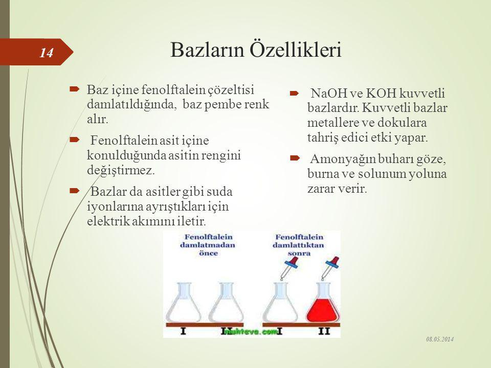 Günlük Hayatta Kullanılan Bazı Asitler  Sirke, seyreltik bir asetik asit(CH 3 COOH) çözeltisidir.  Araba akülerinde sülfürik asit (H 2 SO 4 ) kullan