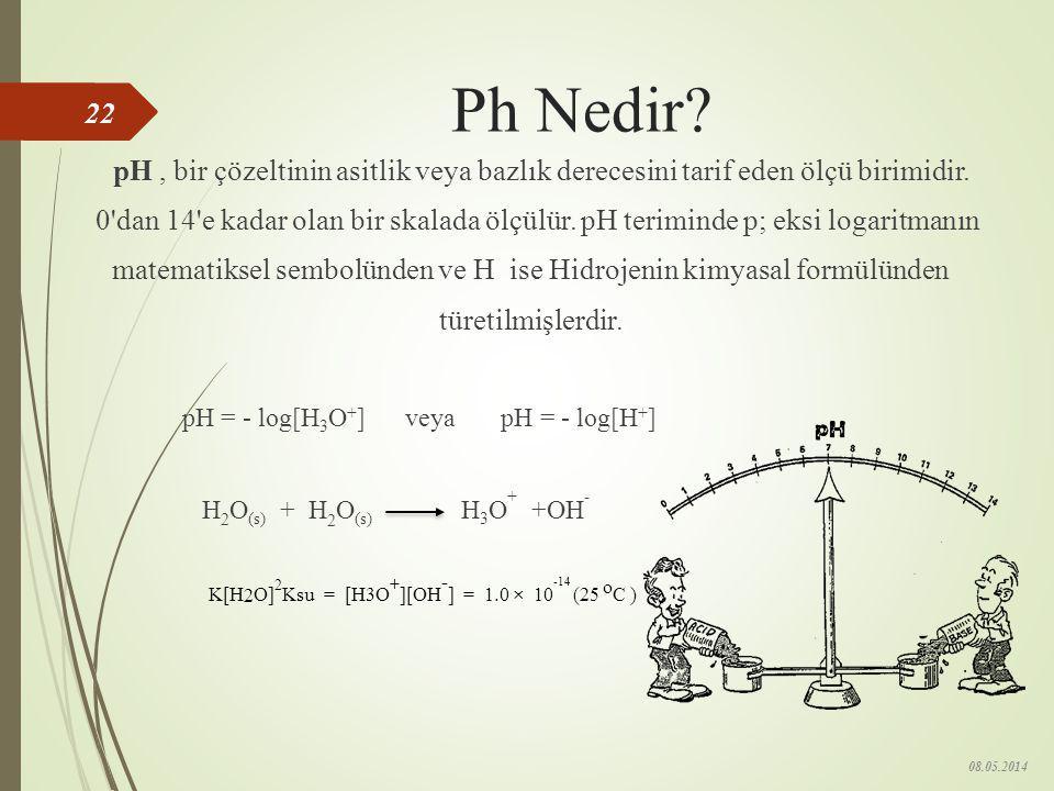 pH Ölçüsü  0 - 7 arası değerler asit,  7-14 arası değerler baz için kullanılır.  pH değerinin 7 olması çözeltinin nötr olduğunu gösterir. 08.05.201