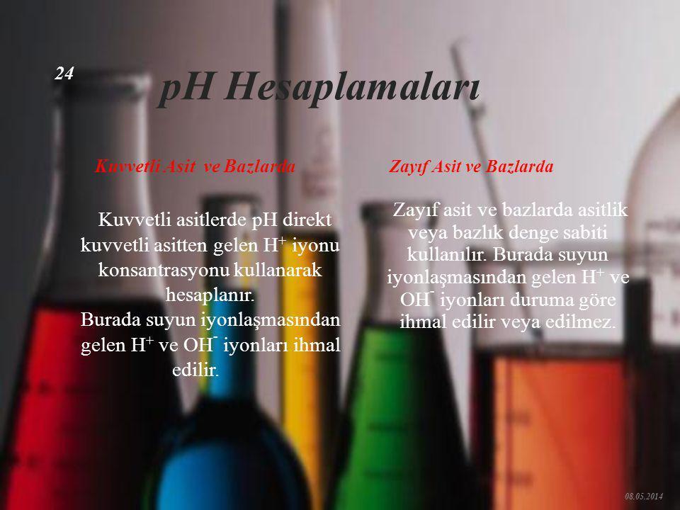 pH < 7.00 asidik çözeltiler pH = 7.00 nötr çözeltiler pH > 7.00 bazik çözeltiler 08.05.2014 23 pH Saf suda Hidronyum iyonu ve Hidroksil iyonu konsantr