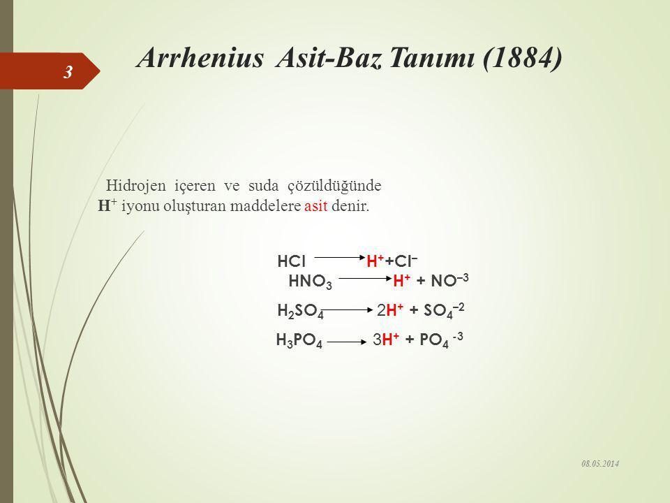 ASİT-BAZ TANIMI Arrhenius Asit- BazTanımı Bronsted Lowry Asit-Baz Tanımı Lewis Asit- Baz Tanımı 08.05.2014 2