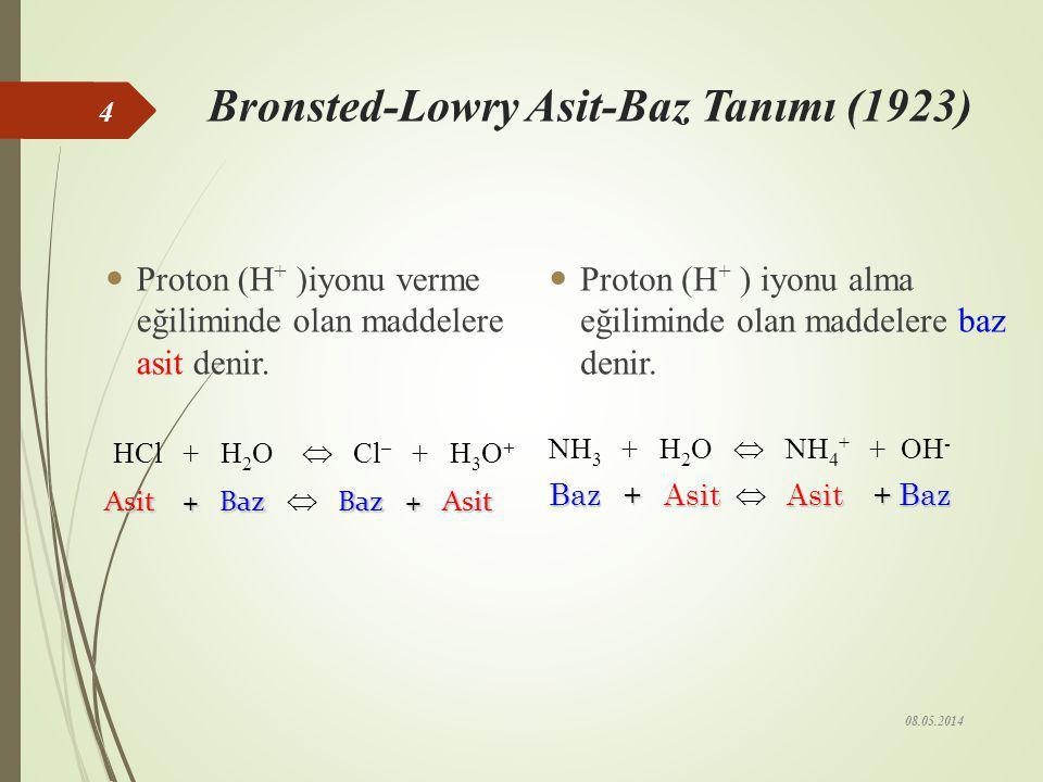 Arrhenius Asit-Baz Tanımı (1884) Hidrojen içeren ve suda çözüldüğünde H + iyonu oluşturan maddelere asit denir. HCI H + +Cl – HNO 3 H + + NO –3 H 2 SO
