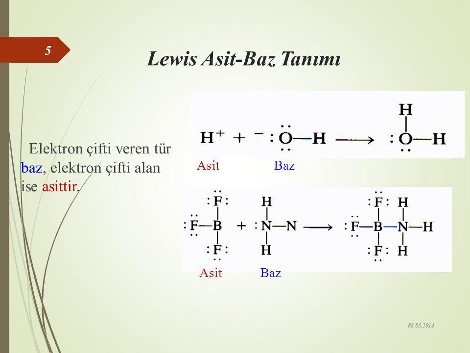 Bronsted-Lowry Asit-Baz Tanımı (1923) Proton (H + )iyonu verme eğiliminde olan maddelere asit denir. HCl + H 2 O  Cl – + H 3 O + Asit + Baz Baz + Asi