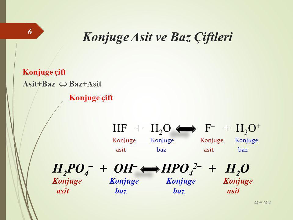 Lewis Asit-Baz Tanımı Elektron çifti veren tür baz, elektron çifti alan ise asittir. Asit Baz 08.05.2014 5