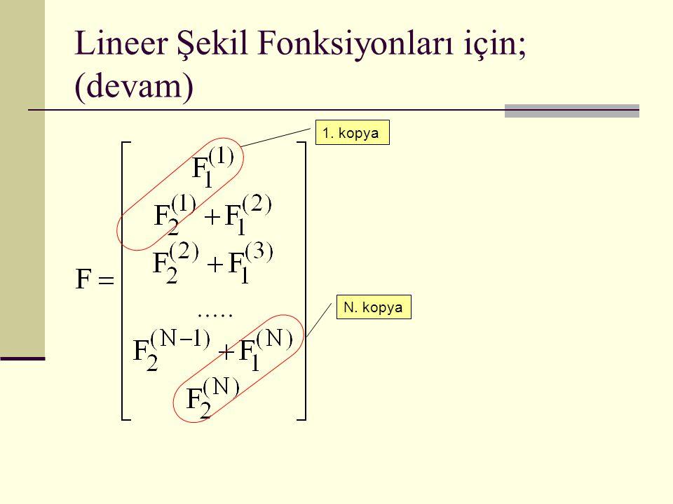Lineer Şekil Fonksiyonları için; (devam) 1. kopya N. kopya
