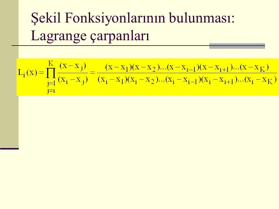 Şekil Fonksiyonlarının bulunması: Lagrange çarpanları
