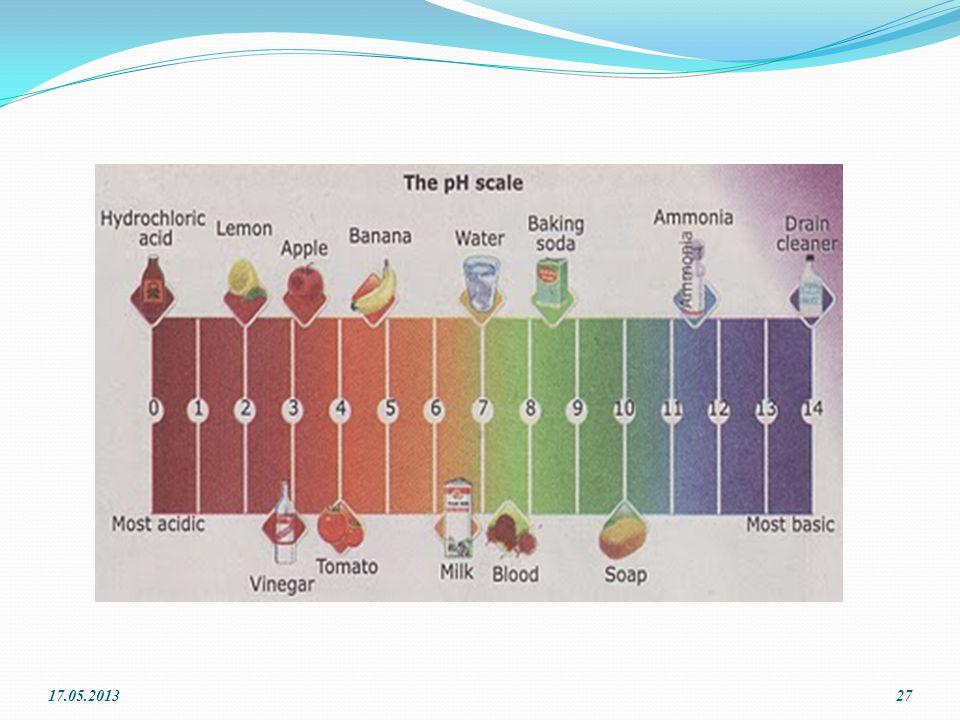 7-14 arası değerler baz için kullanılır. pH değerinin 7 olması çözeltinin nötr olduğunu gösterir 0 - 7 arası değerler asit, 17.05.201326