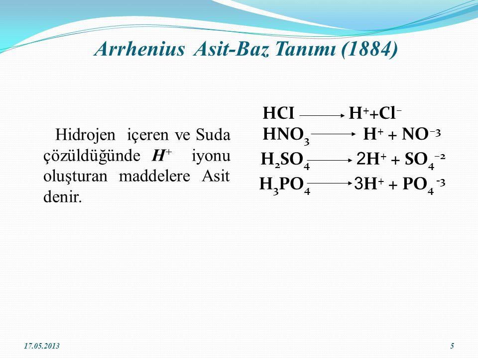 Arrhenius Asit-Baz Tanımı (1884) Hidrojen içeren ve Suda çözüldüğünde H + iyonu oluşturan maddelere Asit denir.