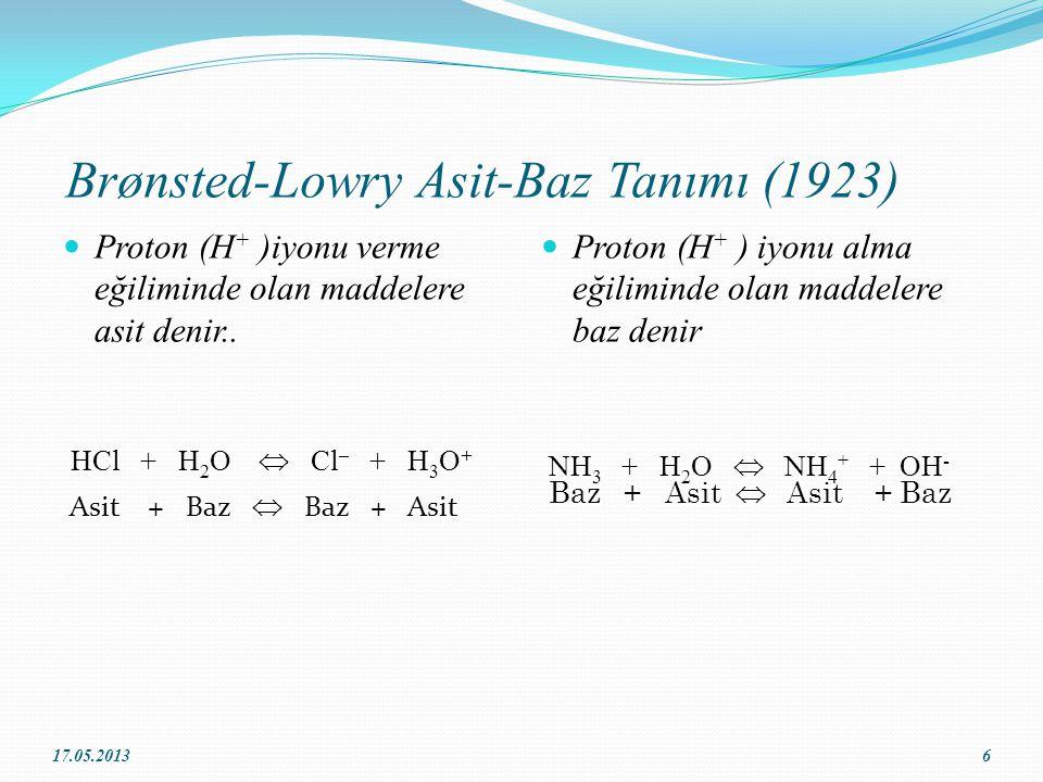 Brønsted-Lowry Asit-Baz Tanımı (1923) Proton (H + )iyonu verme eğiliminde olan maddelere asit denir..