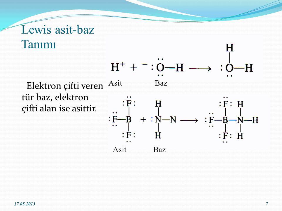 Lewis asit-baz Tanımı Elektron çifti veren tür baz, elektron çifti alan ise asittir.