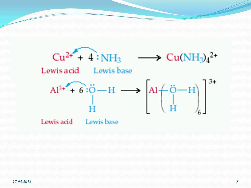 Lewis asit-baz Tanımı Elektron çifti veren tür baz, elektron çifti alan ise asittir. Asit Baz 17.05.20137