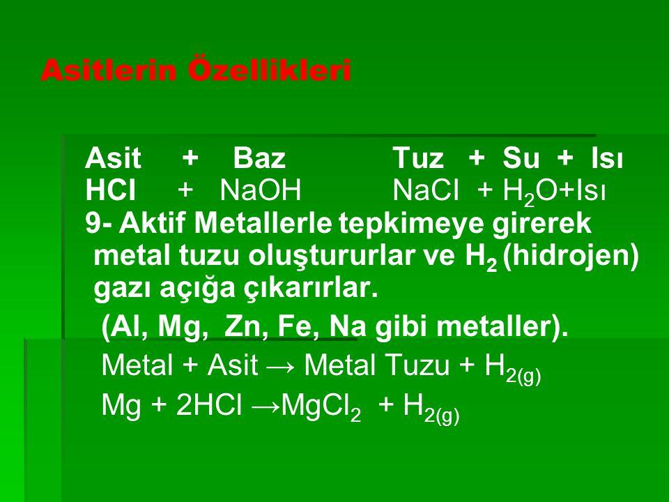 Asitlerin Özellikleri Asit + Baz Tuz + Su + Isı HCI + NaOH NaCI + H 2 O+Isı 9- Aktif Metallerle tepkimeye girerek metal tuzu oluştururlar ve H 2 (hidr