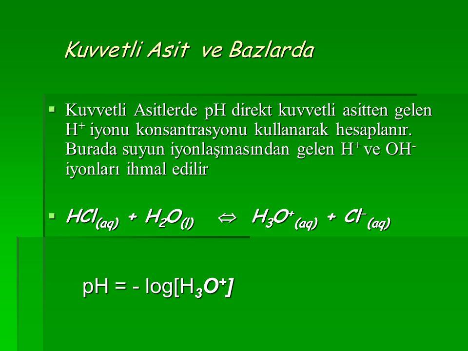 Kuvvetli Asit ve Bazlarda Kuvvetli Asit ve Bazlarda  Kuvvetli Asitlerde pH direkt kuvvetli asitten gelen H + iyonu konsantrasyonu kullanarak hesaplan