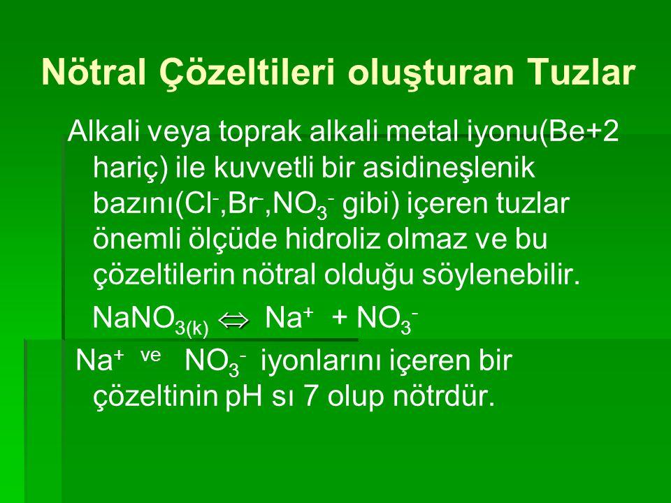 Nötral Çözeltileri oluşturan Tuzlar Alkali veya toprak alkali metal iyonu(Be+2 hariç) ile kuvvetli bir asidineşlenik bazını(Cl -,Br -,NO 3 - gibi) içe