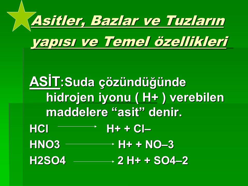 """Asitler, Bazlar ve Tuzların yapısı ve Temel özellikleri ASİT :Suda çözündüğünde hidrojen iyonu ( H+ ) verebilen maddelere """"asit"""" denir. HCl H+ + Cl– H"""