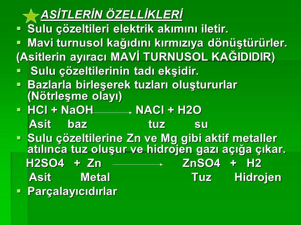  Asit ve Baz Derecesinin Belirlenmesi  Bir çözelti içindeki asit ya da baz derecesini belirleyen H+ ya da OH– iyonu miktarıdır.Eğer çözeltide H+ iyonu fazla ise bu asitli bir sıvıdır.Eğer OH– iyonu fazla ise bu sıvı bazdır.H+ ve OH– iyonları sayısı birbirini dengeliyorsa sıvı nötrdür.