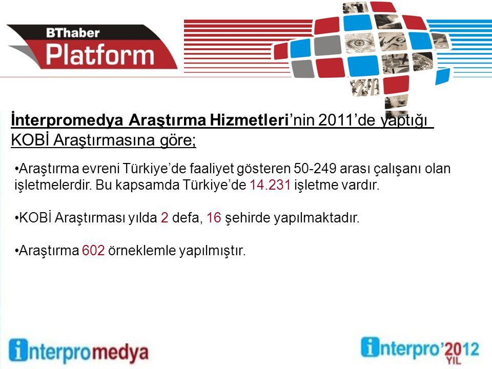 Araştırma evreni Türkiye'de faaliyet gösteren 50-249 arası çalışanı olan işletmelerdir. Bu kapsamda Türkiye'de 14.231 işletme vardır. KOBİ Araştırması