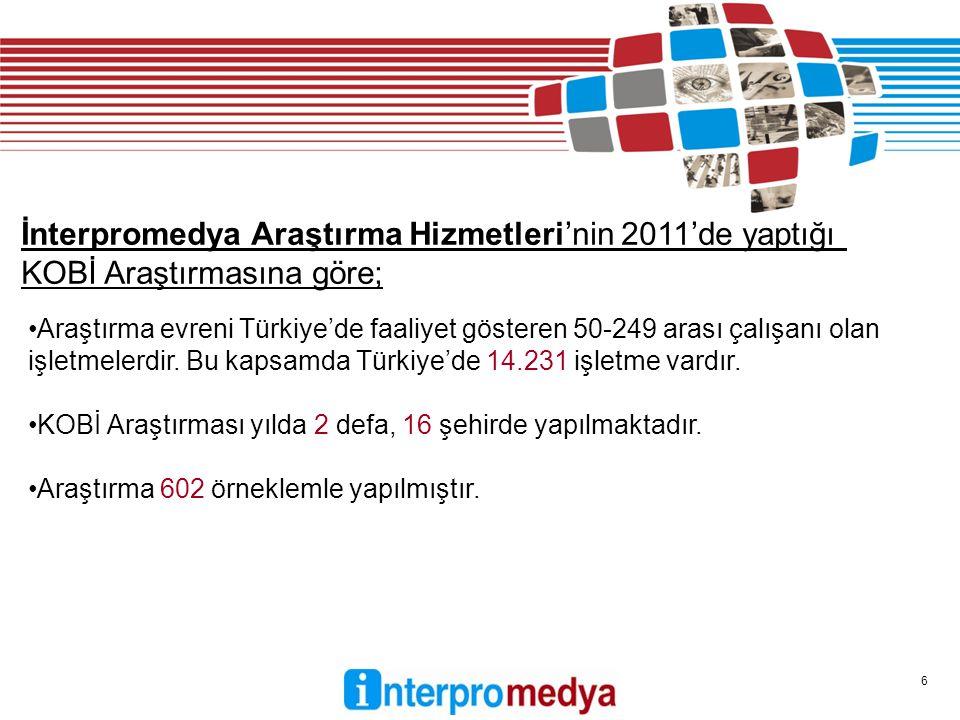 6 Araştırma evreni Türkiye'de faaliyet gösteren 50-249 arası çalışanı olan işletmelerdir.