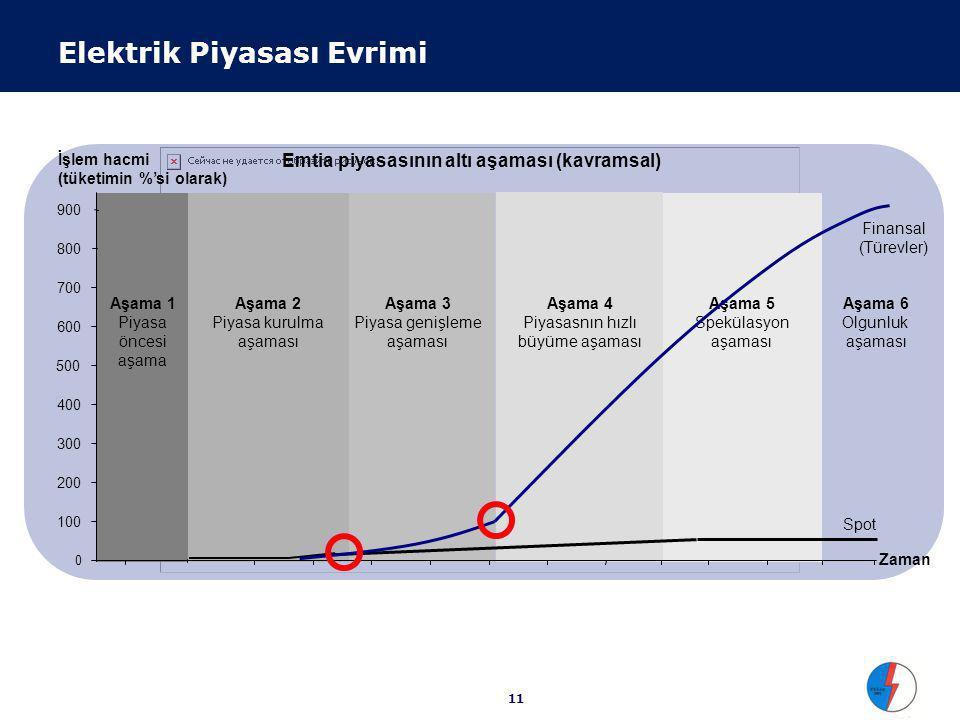11 İşlem hacmi (tüketimin %'si olarak) Aşama 5 Spekülasyon aşaması Aşama 4 Piyasasnın hızlı büyüme aşaması Aşama 3 Piyasa genişleme aşaması Aşama 2 Piyasa kurulma aşaması Aşama 1 Piyasa öncesi aşama 0 100 200 300 400 500 Zaman 600 700 800 900 Emtia piyasasının altı aşaması (kavramsal) Aşama 6 Olgunluk aşaması Spot Finansal (Türevler) Elektrik Piyasası Evrimi