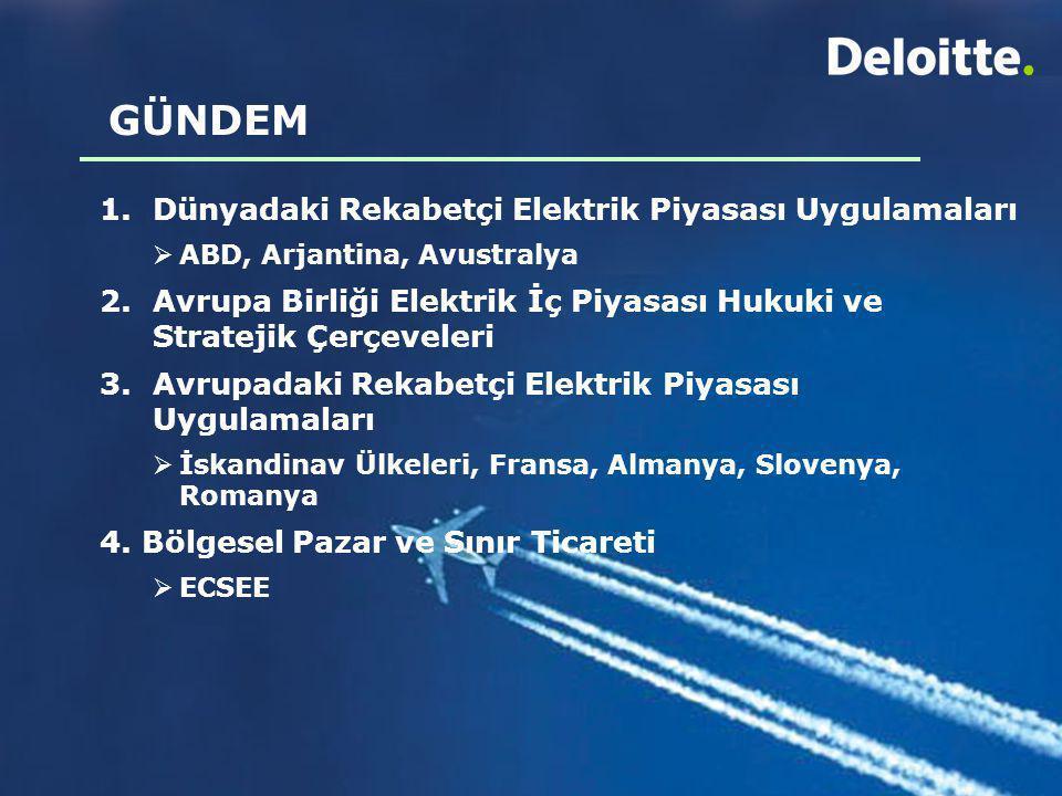 GÜNDEM 1.Dünyadaki Rekabetçi Elektrik Piyasası Uygulamaları  ABD, Arjantina, Avustralya 2. Avrupa Birliği Elektrik İç Piyasası Hukuki ve Stratejik Çe