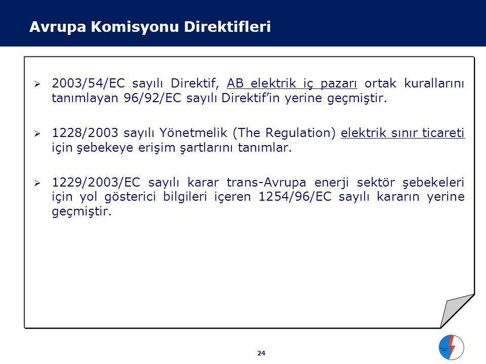 24  2003/54/EC sayılı Direktif, AB elektrik iç pazarı ortak kurallarını tanımlayan 96/92/EC sayılı Direktif'in yerine geçmiştir.  1228/2003 sayılı Y