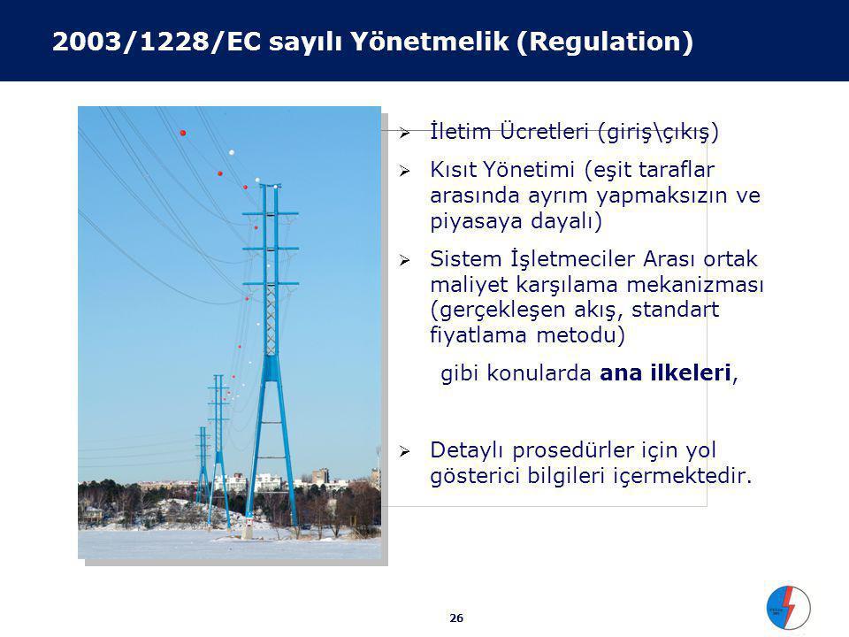 26 2003/1228/EC sayılı Yönetmelik (Regulation)  İletim Ücretleri (giriş\çıkış)  Kısıt Yönetimi (eşit taraflar arasında ayrım yapmaksızın ve piyasaya
