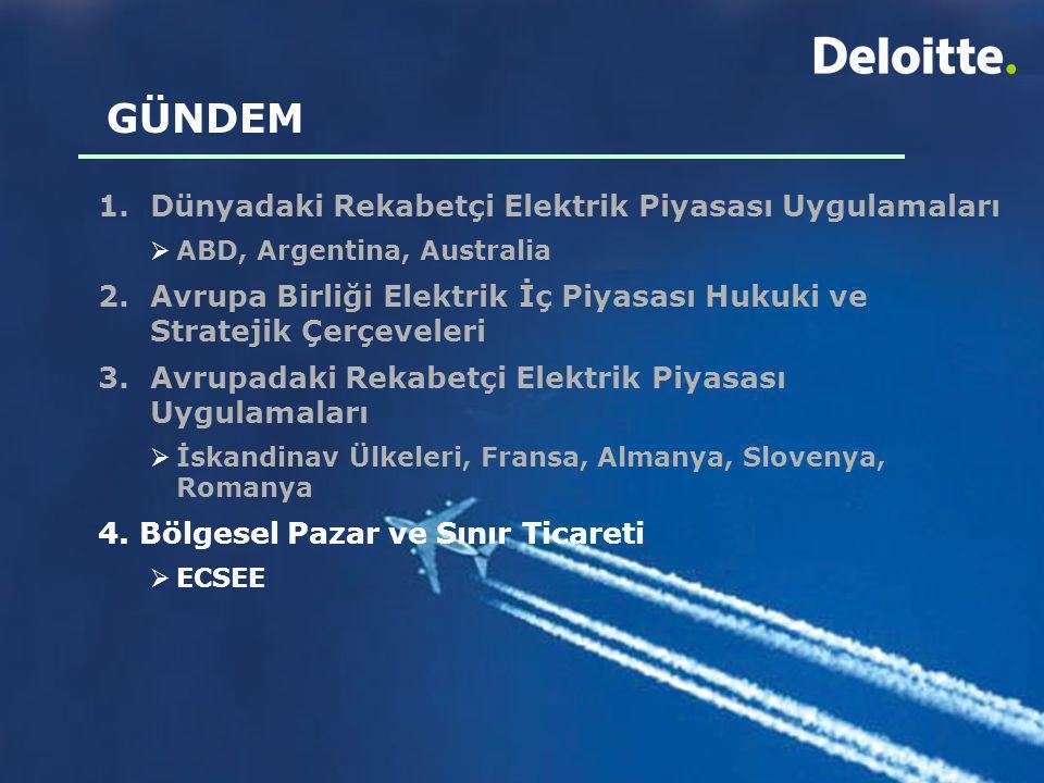 GÜNDEM 1.Dünyadaki Rekabetçi Elektrik Piyasası Uygulamaları  ABD, Argentina, Australia 2. Avrupa Birliği Elektrik İç Piyasası Hukuki ve Stratejik Çer