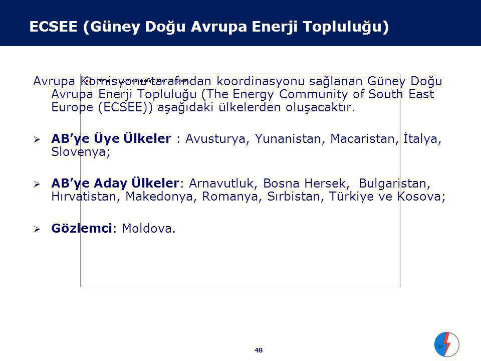 48 ECSEE (Güney Doğu Avrupa Enerji Topluluğu) Avrupa Komisyonu tarafından koordinasyonu sağlanan Güney Doğu Avrupa Enerji Topluluğu (The Energy Community of South East Europe (ECSEE)) aşağıdaki ülkelerden oluşacaktır.