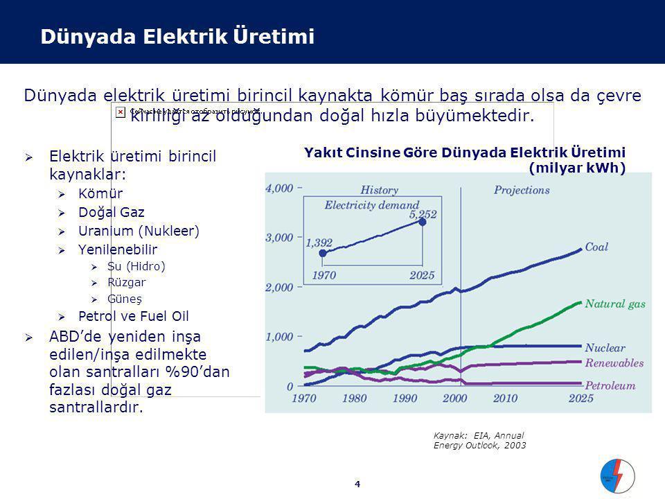 4 Dünyada elektrik üretimi birincil kaynakta kömür baş sırada olsa da çevre kirliliği az olduğundan doğal hızla büyümektedir.  Elektrik üretimi birin