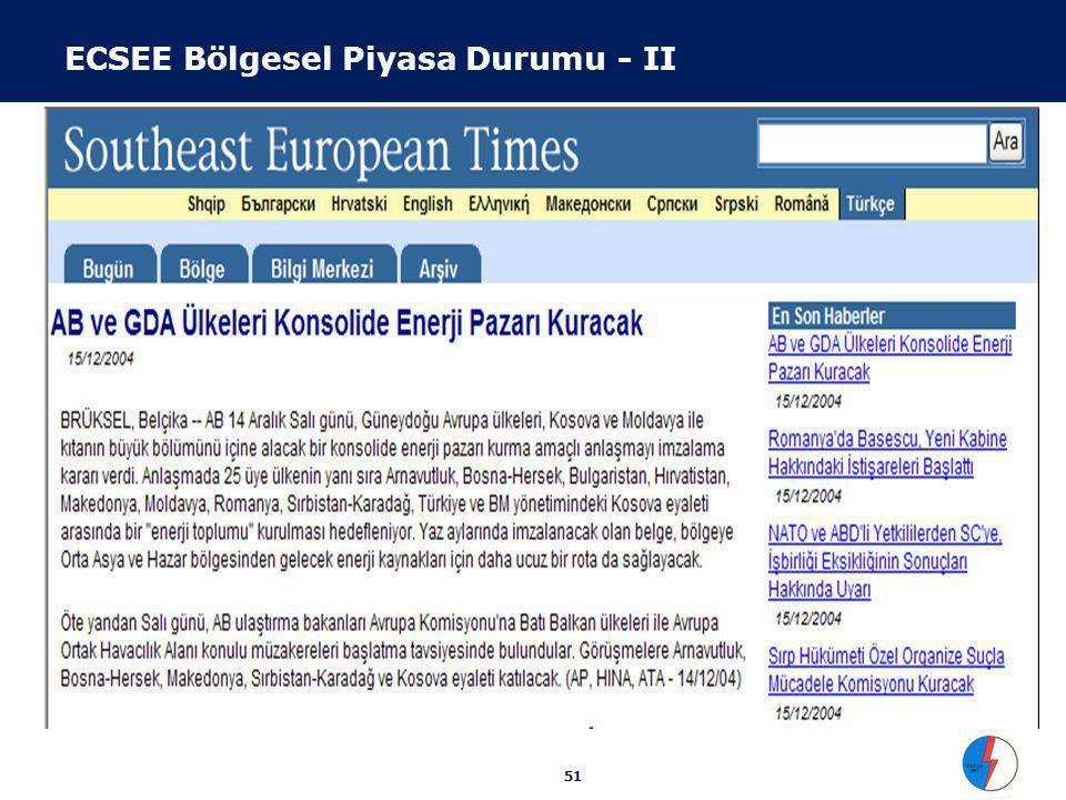 51 ECSEE Bölgesel Piyasa Durumu - II AB ve GDA Ülkeleri Konsolide Enerji Pazarı Kuracak (15/12/2004) BRÜKSEL, Belçika -- AB 14 Aralık Salı günü, Güney