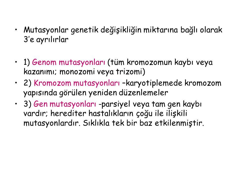 Mutasyonlar genetik değişikliğin miktarına bağlı olarak 3'e ayrılırlar 1) Genom mutasyonları (tüm kromozomun kaybı veya kazanımı; monozomi veya trizom