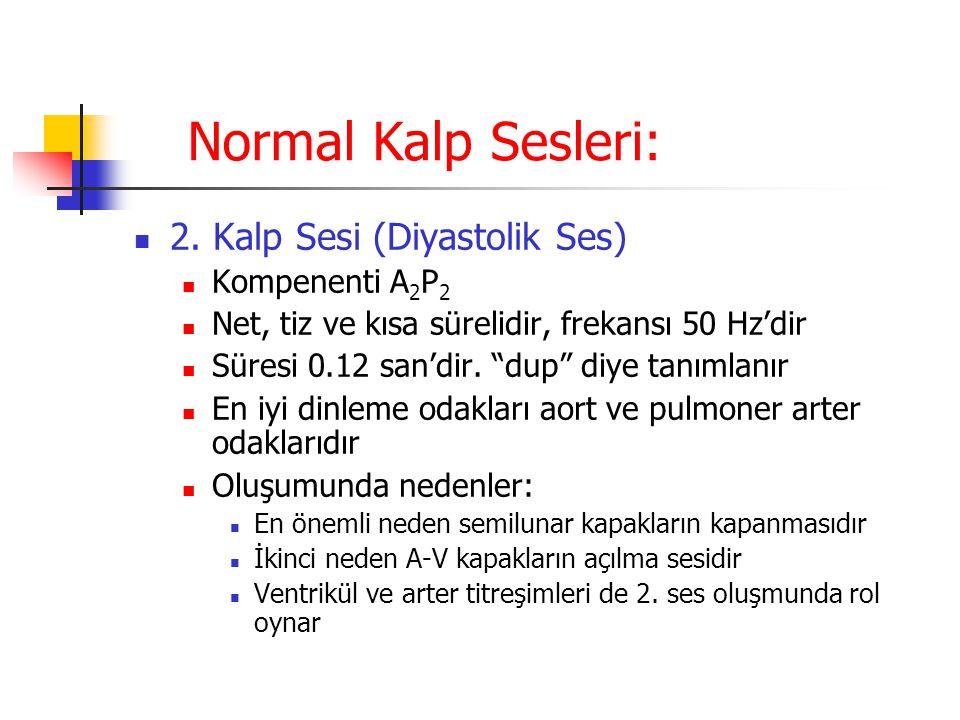 """Normal Kalp Sesleri: 2. Kalp Sesi (Diyastolik Ses) Kompenenti A 2 P 2 Net, tiz ve kısa sürelidir, frekansı 50 Hz'dir Süresi 0.12 san'dir. """"dup"""" diye t"""