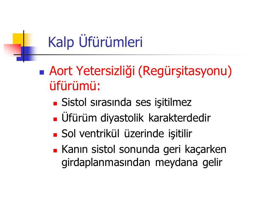 Kalp Üfürümleri Aort Yetersizliği (Regürşitasyonu) üfürümü: Sistol sırasında ses işitilmez Üfürüm diyastolik karakterdedir Sol ventrikül üzerinde işit