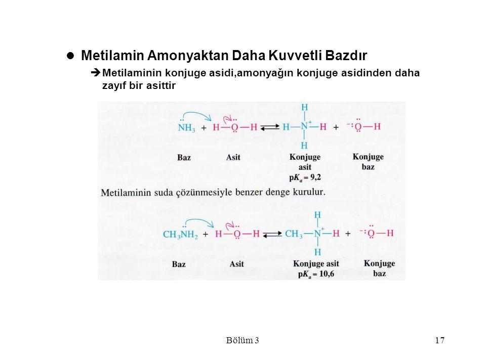 Bölüm 317 Metilamin Amonyaktan Daha Kuvvetli Bazdır  Metilaminin konjuge asidi,amonyağın konjuge asidinden daha zayıf bir asittir