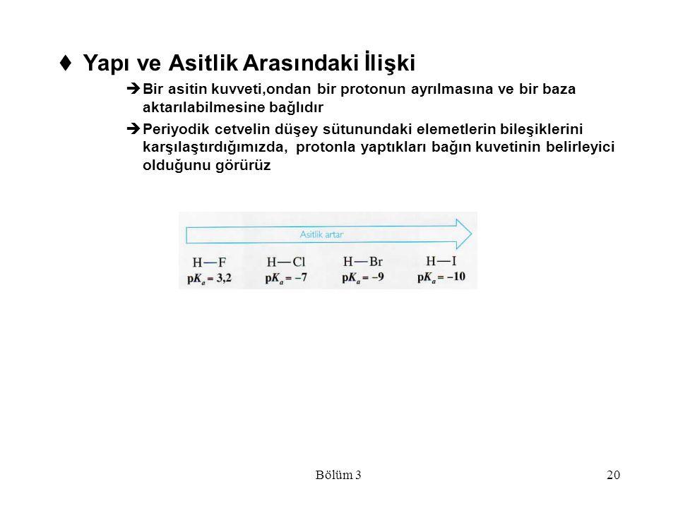 Bölüm 320  Yapı ve Asitlik Arasındaki İlişki  Bir asitin kuvveti,ondan bir protonun ayrılmasına ve bir baza aktarılabilmesine bağlıdır  Periyodik c