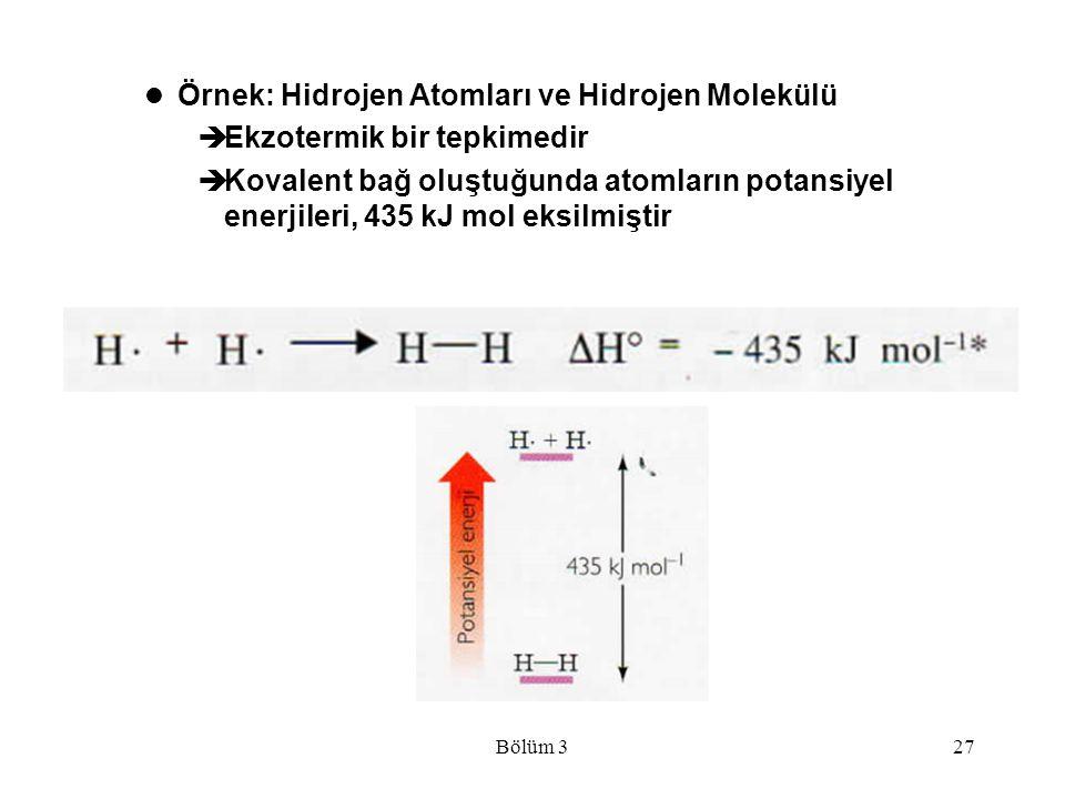 Bölüm 327 Örnek: Hidrojen Atomları ve Hidrojen Molekülü  Ekzotermik bir tepkimedir  Kovalent bağ oluştuğunda atomların potansiyel enerjileri, 435 kJ