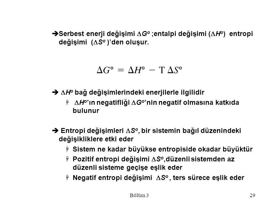 Bölüm 329  Serbest enerji değişimi  G o ;entalpi değişimi (  H o ) entropi değişimi (  S o )'den oluşur.   H o bağ değişimlerindeki enerjilerle