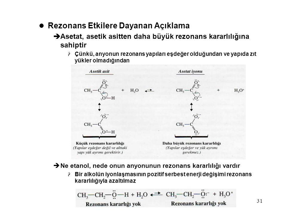 Bölüm 331 Rezonans Etkilere Dayanan Açıklama  Asetat, asetik asitten daha büyük rezonans kararlılığına sahiptir  Çünkü, anyonun rezonans yapıları eş