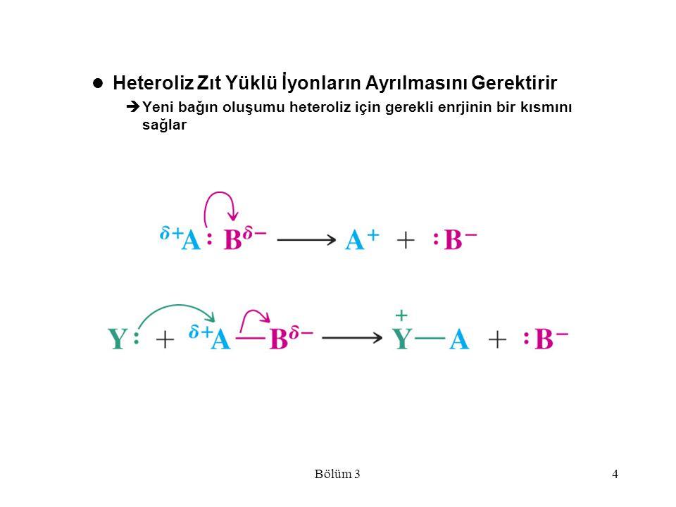 Bölüm 34 Heteroliz Zıt Yüklü İyonların Ayrılmasını Gerektirir  Yeni bağın oluşumu heteroliz için gerekli enrjinin bir kısmını sağlar